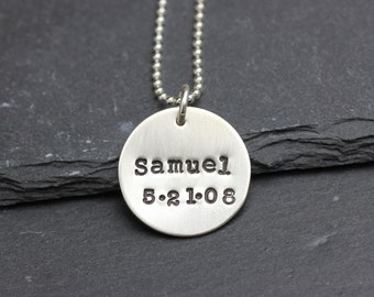 Name and Date Necklace, Handstamped Sterling Silver Necklace