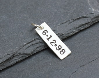 Sterling Silver Date Tag, Handstamped Date Charm