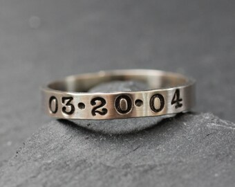 Personalized Sterling Silver Ring; Handstamped Date Ring