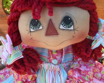 Primitive Raggedy Ann Style doll PATTERN INSTANT DOWNLOAD Pigtail Annie #102 Hafair Faap