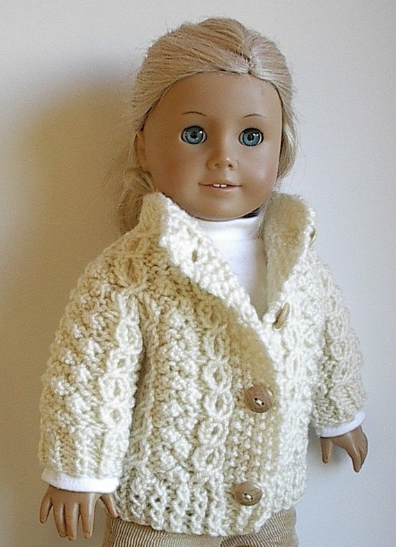 American Girl Doll Clothes Handknit Irish Fisherman Cardigan