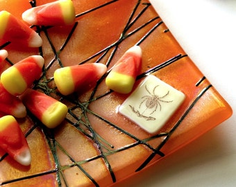 Spider's Web Fused Glass Dish with Black Glass Web and Spider  - Bright Orange