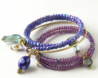 Orchid, Dahlia Purple, Blue Iris -  Trio of Three Beaded Bracelets - Gold Bangle with Lampwork Bead, Delicious Wraps