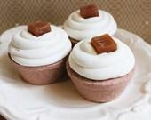 Jumbo Caramel Brulee Cupcake Bath Bomb - Bath Fizzy, Frosting, Kids Bath, Candy, Sugar, Teen Gift, Gift For Her, Fake Food, Dessert Bath