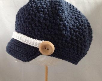 Newsboy Hat Crocheted Indigo Blue, White Accent Band, Wooden Buttons Skater Visor Beanie
