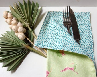 SALE Laney Mint & Aqua Cloth Bistro Napkins / free shipping housewares / animal print napkins / reversible pastel cloth napkins / mint green