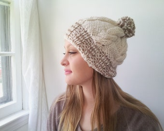 Winter Hat with PomPom. Cream and Biege. Handknit in Alpaca and Wool.
