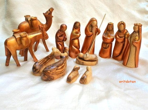 Olive wood NATIVITY SET Christmas creche hand carved hand painted in Holy Land