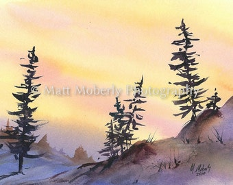 Golden Sun Fine Art Print from original watercolor