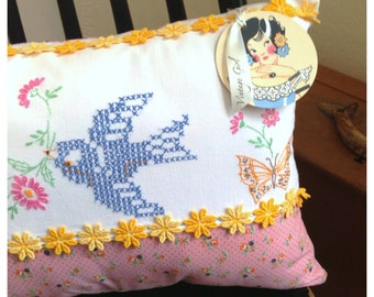 Bluebird and Butterflies Vintage Embroidered Pillow with pink and Yellow Flowers