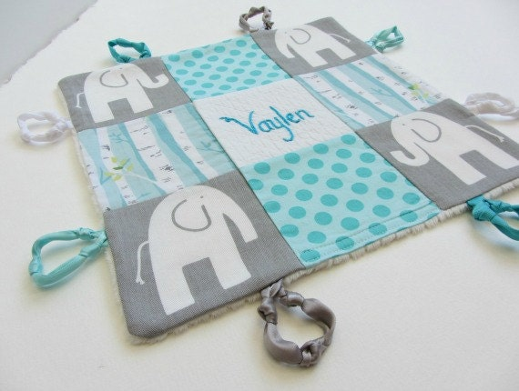 Personalized Baby Girl Lovey Custom Name or Initial ~ Choice of Backing Fabric ~ Aqua Teal Grey White~ Elephants Dots Aspen Trees ~Baby Gift