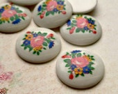 Four Vintage Sweet Bouquet Japanese 18mm Flower Cabs (9-34-4)