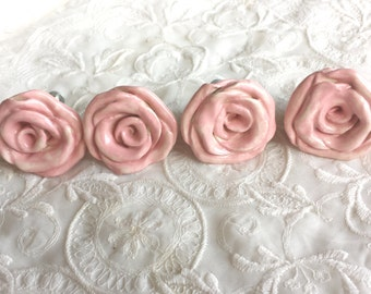 Rose Knobs Hardware Pink Ceramic Rose Drawer Pulls Kitchen Hardware Nursery Shabby Cottage Home Decor Light Pink Price is For One knob