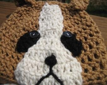 Boxer Puppy Dog Crochet Beanie all sizes newborn through adult cute photo prop