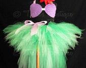 Purple Green Mermaid Tutu Costume Set, Ariel Little Mermaid Costume, Seashell Top and Tutu w/ Tail, Custom Sewn Pixie Tutu w/ Tutu Bustle