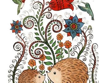 "Hedgehog Garden Art Print 11""x14"""