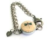 Dragonfly Jewelry - Dragonfly Bracelet, Wine Cork Jewelry, Steel Bracelet, Silver Chain, Any Size, Aunt, Mother, Grandmother - Uncorked
