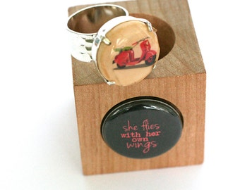 Scooter Ring, Scooter Jewelry, Hammered Silver Ring, Recycled Jewelry, Wine Cork Ring - Scooter Girl Gift by Uncorked