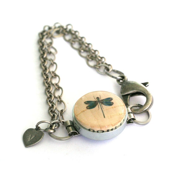 Dragonfly Jewelry - Dragonfly Bracelet, Wine Cork Jewelry, Steel Bracelet, Silver Chain, Any Size, Aunt, Mother, Grandmother - Uncorked