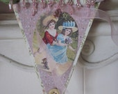 vintage paper garland banner victorian style one of a kind decoration pink cream