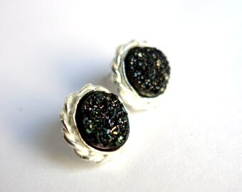 Drusy Deluxe: Braided Black Drusy Studs