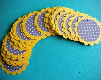 CLEARANCE 25 Shimmery Yellow and Gray and White Polka Dot  2 Scalloped Circle Birthday or Baby Shower Favor Tags - No Ribbon - Ready to Ship