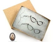 Vintage cat eye glasses wood earrings