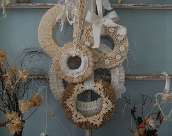 My Favorite Things - Abandoned Vintage Linen, Lace, and Burlap Set of 5 Wreaths