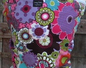 ORGANIC COTTON Baby Wrap Sling Carrier-Funky Flowers on White-DvD Included-One Size Fits All-Newborn -Toddler