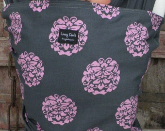 Baby Sling-ORGANIC COTTON Baby Wrap Sling Carrier-Pink Bloom on Gray-One Size Fits All-Newborn to Toddler-DvD Included
