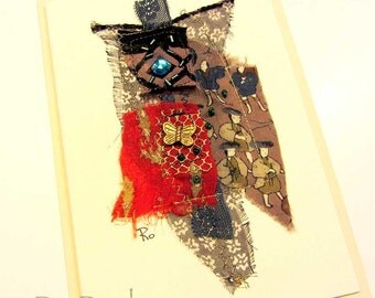 Hand made fabric, collage card