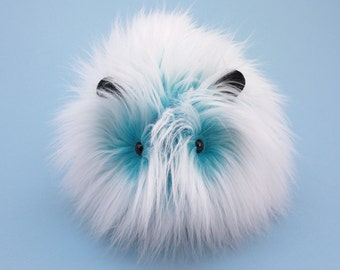 Guinea Pig Stuffed Animal Cute Plush Toy Guinea Pig Kawaii Plushie Yeti the Blue and White Guinea Pig Cuddly Faux Fur Toy Large 6x10 Inches