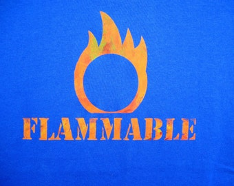 FLAMMABLE Safety Third tshirt - Mens fire flame tshirt standard sizing safety 3rd shirt Burning Man handmade screenprint Blue & Orange