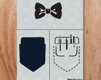 Bow Tie and Pocket Protector Stencil- Reusable Craft & DIY Stencils- S1_2l_24 -8.5x11- By Stencil1