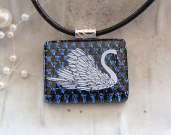 Dichroic Pendant, Fused Glass Jewelry, Necklace, Enamel, Swan, Necklace Included