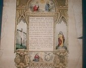 1840 Antique Print The Lords Prayer and Hail Mary  Published by Frederick Gleason of Boston Hand Colored