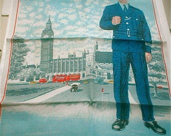Town of Westminster Linen Towel  London Bobby Policeman  Kitchen Cloth Made in ireland Double Decker Bus Palace of Westminster