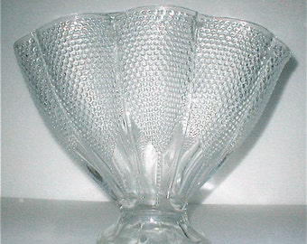 Fenton Hobnail Fan Vase Vintage 30s Large Clear Glass Vessel Deco Design