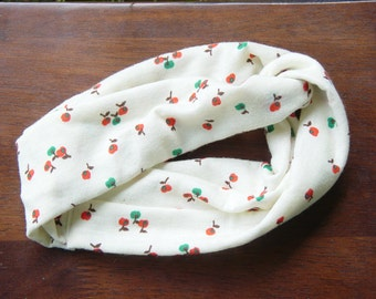 Headband made from vintage reclaimed knit fabric/ ECO fashion/ cream and orange print/ bohemian/ earth friendly