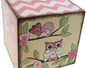 EXTRA Large Wooden Coin Bank Box (Personalized), Piggy Bank, Coin Box, Prayer Box, Owls and Other Designs, MADE To ORDER