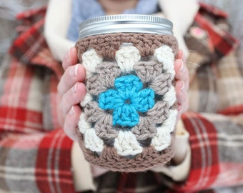crochet cozy jar + Cuppow set (custom made to order in your colors)