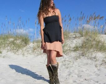 Organic Mullet Wanderer Mini Skirt ( light hemp and organic cotton knit ) - organic skirt