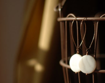 Very Long Copper Ear-wires with Cream Mother of Pearl