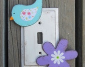 Kids Switch Plate Cover DAISY GARDEN - Hand Painted Wood
