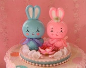 SALE...Adorable Bunny Gift Box...Birthday/Wedding Cake Topper...Handmade and OOak