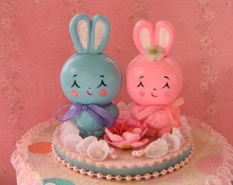 SALE!!..Sweet Bunnies Gift Box..Wedding/Birthday Cake Topper...Super Cute!!!..Handmade and OOak