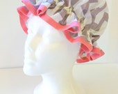 Vintage Shower Caps Grey Chevron with Pink Bias, Adult Size  - Wipeable and Washable, BPA FREE