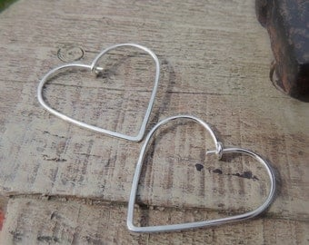 Silver Hoop Earrings, Heart Earrings, Sterling Heart Hoops