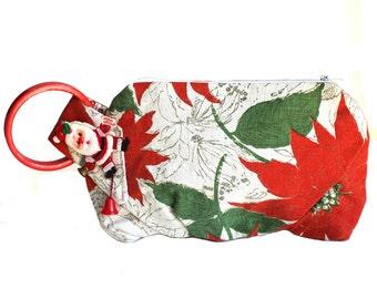 Christmas Poinsettia with Vintage Festive Santa Claus Pin Wristlet Purse