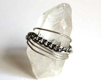 Quartz Crystal and Chain Ring that Rocks size 5.5